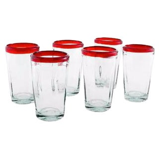 Set of 6 Handcrafted 'Ruby Groove' Blown Glass Tumblers (Mexico)