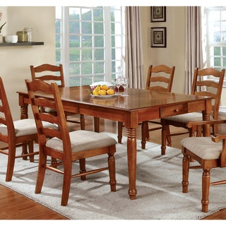 Furniture of America Midvale American Oak 14-inch Leaf Dining Table