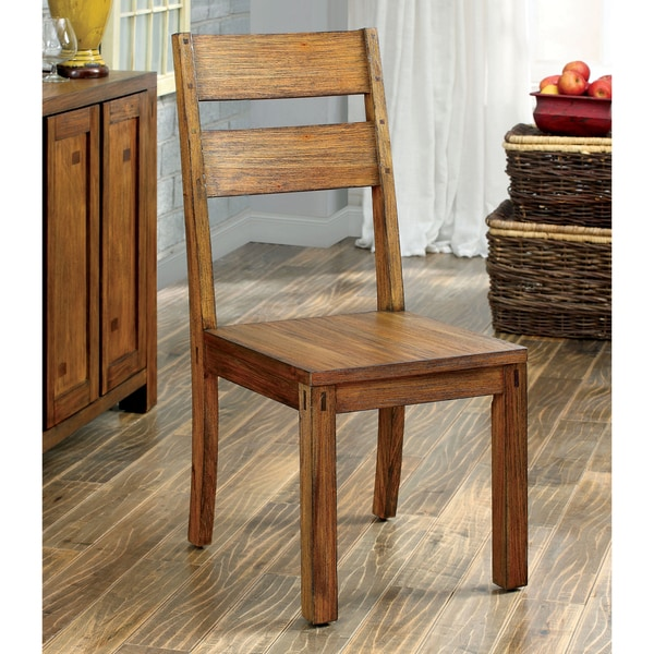 Furniture of America Clarks Farmhouse Style Dining Chair Set of 2