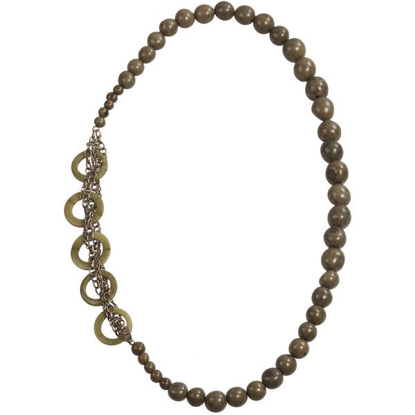 Global Crafts Green Circle Chain Necklace (Ecuador)
