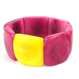 Global Crafts Berry with Lemon Accented Tagua Bracelet (Ecuador)