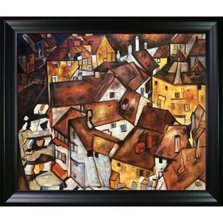 Egon Schiele Crescent of Houses Hand Painted Framed Canvas Art