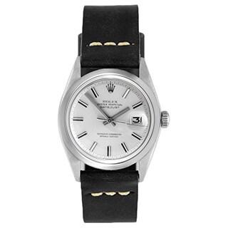 Pre-Owned Rolex Men's Silvertone Dial Black Strap Datejust Watch