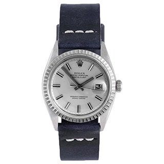 Pre-Owned Rolex Men's Blue Strap Fluted Bezel Datejust Watch
