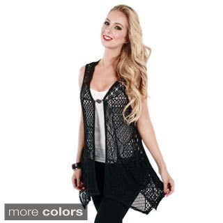Firmiana Women's Sleeveless Mesh Open Front Cardigan