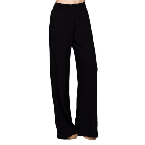 Tabeez Women's Black Smock Waist Wide Leg Pants