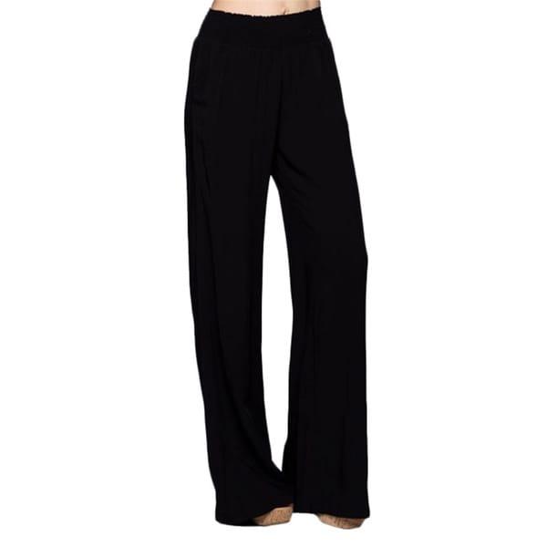 Tabeez Women's Black Smock Waist Wide Leg Pants