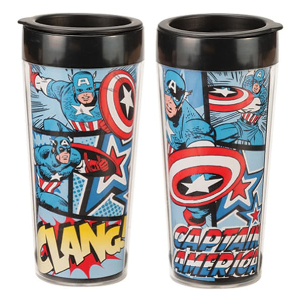 Captain America Marvel Comics Plastic Travel Coffee Mug