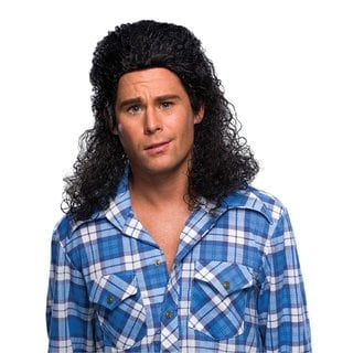 Men's Curly Black Mullet Costume Wig