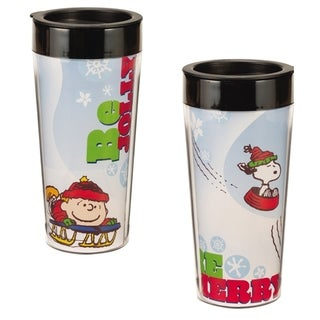 Peanuts Charlie Brown Be Merry Christmas Travel Coffee Mug