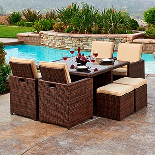 The Hom Mare 9-piece Outdoor Wicker Dining Set