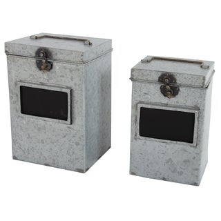 Metal Canisters with Blackboard Inserts (Set of 2)