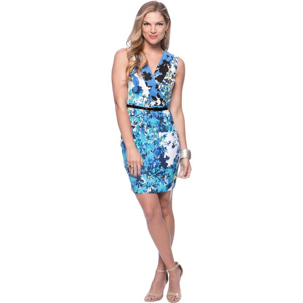 Marc New York Women's Blue Jay Floral Belted Dress