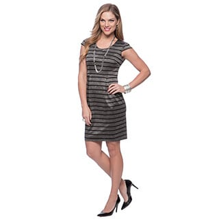 Marc New York Women's Black Striped Scoop-neck Sheath Dress