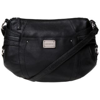 Stone Mountain 'Greenwich' Black Leather Multi-zip Satchel