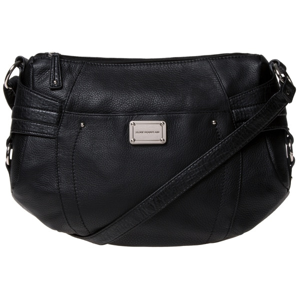 Stone Mountain 'Greenwich' Black Leather Multi-zip Satchel
