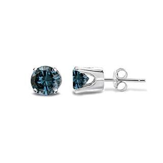 DB Designs 14k White Gold 1/3ct TDW Blue Diamond Stud Earrings