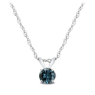 DB Designs 14k White Gold 1/4ct TDW Blue Diamond Solitaire Necklace