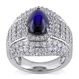 Miadora Sterling Silver Created Blue and White Sapphire Cocktail Ring