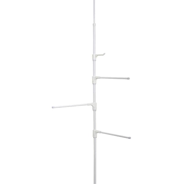 Zenna Home Tension or Hinge Mount Pole Towel Caddy - White