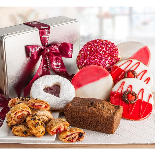 Dulcet Gift Basket Valentine's Day Sweet Pastry Natural Loaf and Cookies Gift Tin