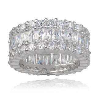 Journee Collection Sterling Silver Cubic Zirconia 10 mm Engagement Band