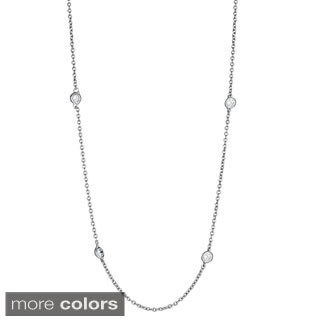 Sterling Silver Micropave Cubic Zirconia Rolo Chain Necklace