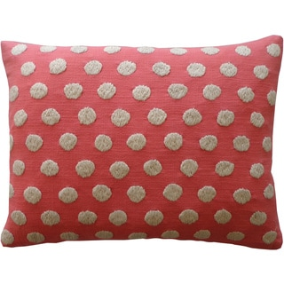 Handmade Puff Coral Pink Polka-Dot Cotton Accent Pillow