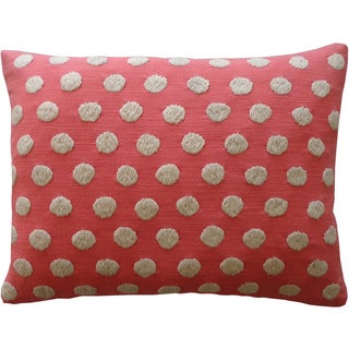 Jiti Puff Coral Pink Polka-dot Cotton Accent Pillow