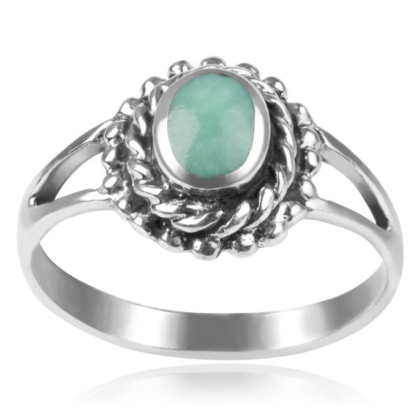Journee Collection Sterling Silver Turquoise Border Ring