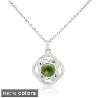 Sterling Silver Center Gemstone Floral-knot Pendant