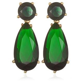 Goldplated Silver 11 1/5 TCW Simulated Emerald Dangle Earrings