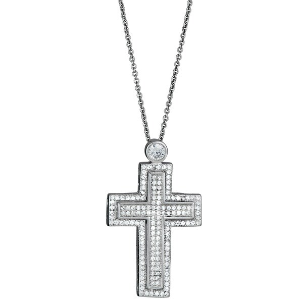 Sterling Silver Micropave Cubic Zirconia Fancy Double Cross Pendant Necklace