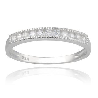 Journee Collection Sterling Silver Cubic Zirconia 3 mm Engagement Band
