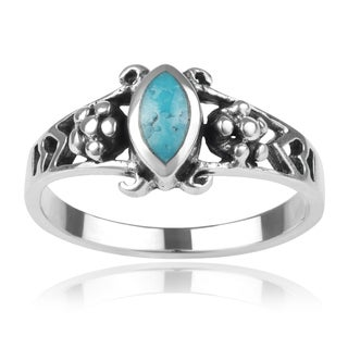 Journee Collection Sterling Silver Marquise Turquoise Ring