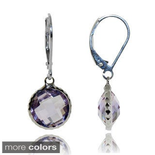 Sterling Silver Checkerboard Round-cut Dangle Earrings