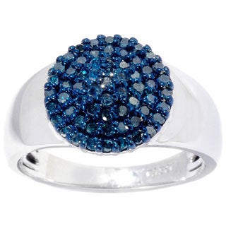 Sterling Silver 1/2ct TDW Blue Diamond Cluster Ring (I2-I3)