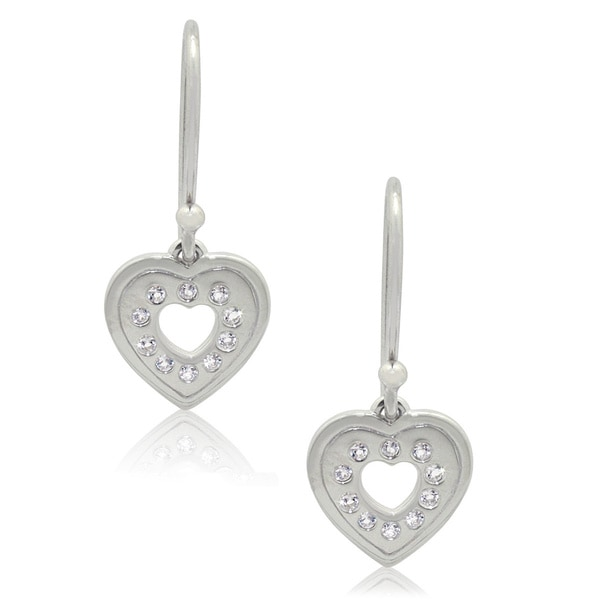 Sterling Silver White Topaz Heart Dangle Earrings