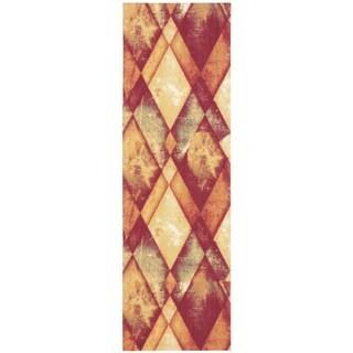 Nourison Vista Gold/ Ruby Runner Rug (2'6 x 8')