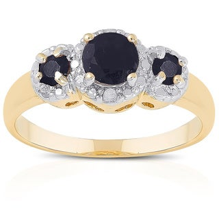 Dolce Giavonna Gold over Sterling Silver Gemstone Diamond Accent 3-stone Ring