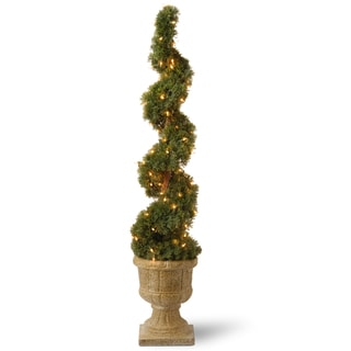 Upright Spiral Juniper Tree with Decorative Urn and 100 Clear Lights