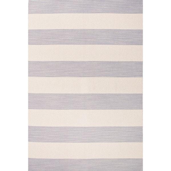 Flat-Weave Stripe Pattern Grey/Ivory (2X3) - PV48 Area Rug