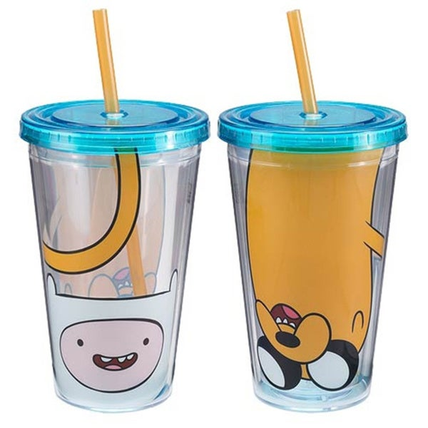 Finn And Jake Adventure Time 16-ounce Straw Travel Cup