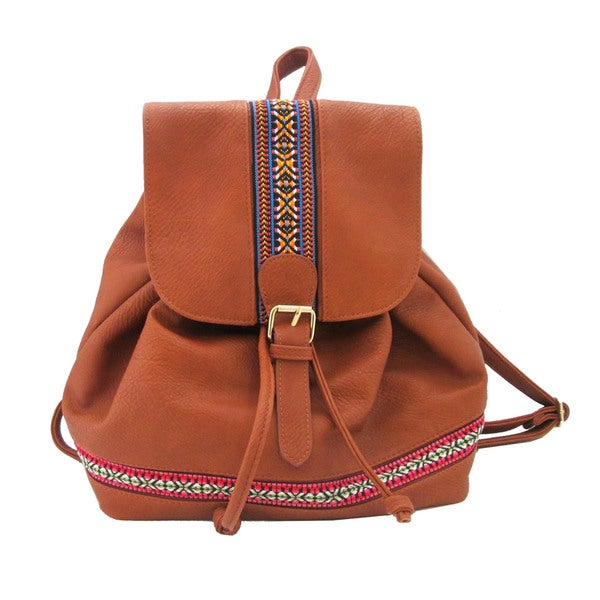 Olivia Miller Cognac Tribal Taped Backpack