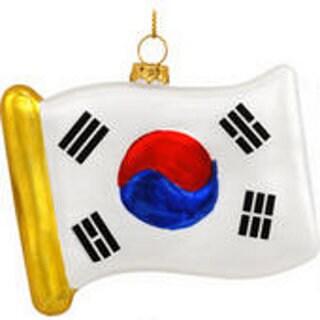 South Korean Flag Glass Christmas Tree Ornament