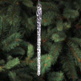6-inch Clear Glass Icicle Hanging Christmas Tree Ornaments
