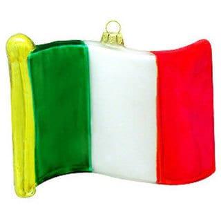 Italy Flag Glass Christmas Ornament