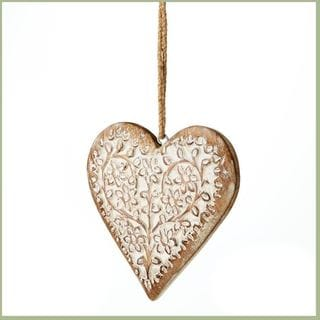 6-inch Carved Wood Heart Ornament (Pack of 4)