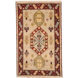 Herat Oriental Indo Hand-knotted Tribal Kazak Gray/ Red Wool Rug (3' x 5')