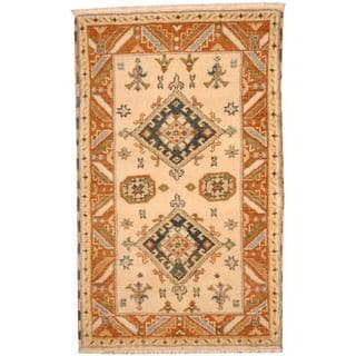 Herat Oriental Indo Hand-knotted Tribal Kazak Beige/ Charcoal Wool Rug (3'2 x 5'1)